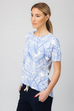 DROP HEM TOP  - BLUE PALM PRINT - Sha-de  - 2