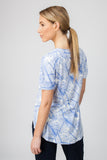 DROP HEM TOP  - BLUE PALM PRINT - Sha-de  - 3