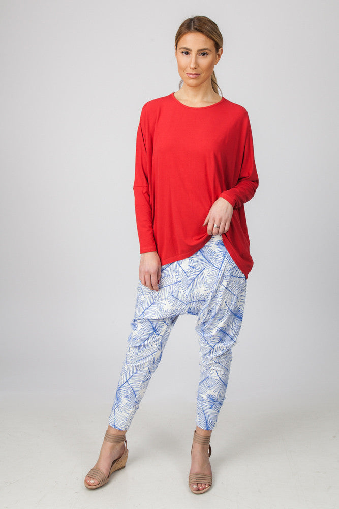 DROP CROTCH PANT  - BLUE PALM PRINT - Sha-de  - 1