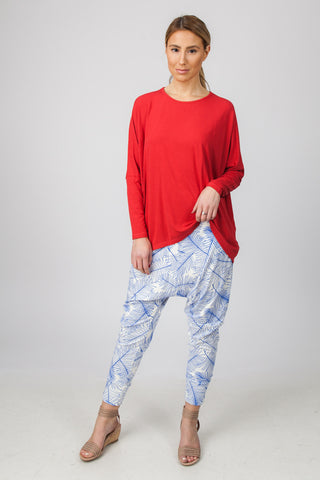 DROP CROTCH PANTS  - BLUE PALM PRINT