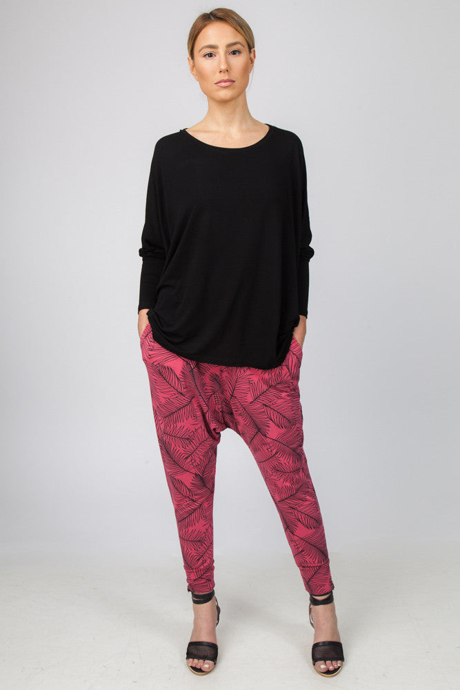DROP CROTCH PANT  - WATERMELON/BLACK PALM PRINT - Sha-de  - 1