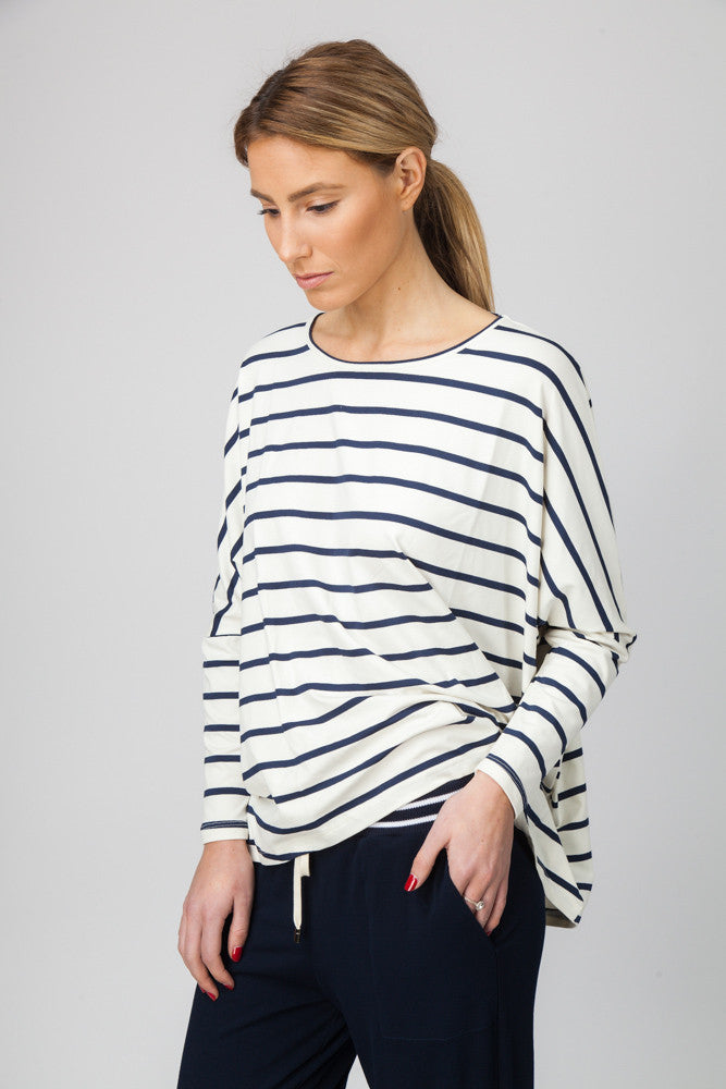 DOLMAN TOP - CREAM/INDIGO - Sha-de  - 1