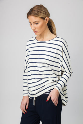 DOLMAN TOP - CREAM/INDIGO