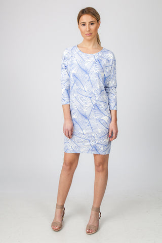 DOLMAN DRESS  - BLUE PALM PRINT
