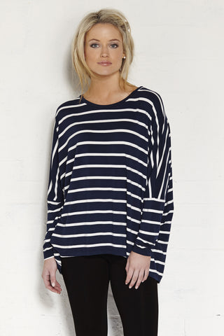 Dolman Top - Indigo/Cream