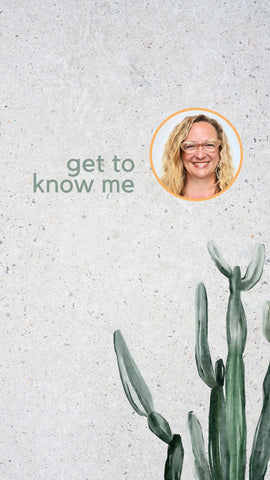 Get to know me: Jennifer at Zatka Decor, headshot with painted image of cactus