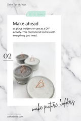 Zatka home decor DIY project, concrete picture holders with marble background