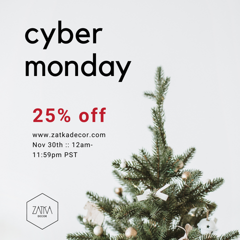 Zatka Decor modern home decor 25%off cyber monday sale with christmas tree top