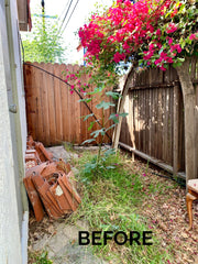 before image, wasted space with weeds, grass