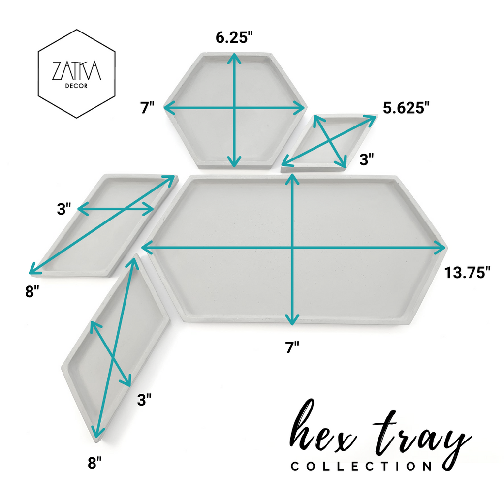 Hex Tray concrete collection with measurements, modern home decor