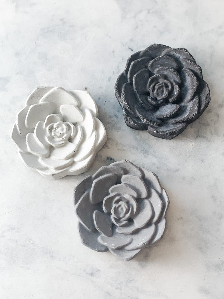 Concrete Rose magnet, top view in 3 colors, modern home decor