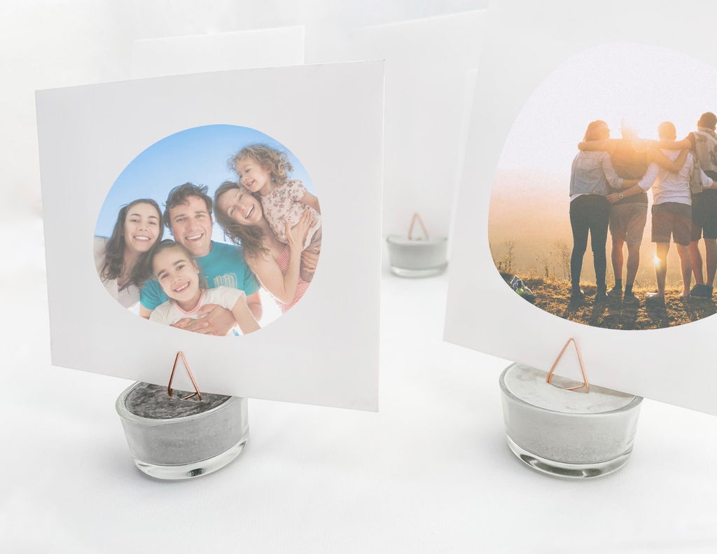 DIY Concrete Picture holder with family pictures, modern home decor