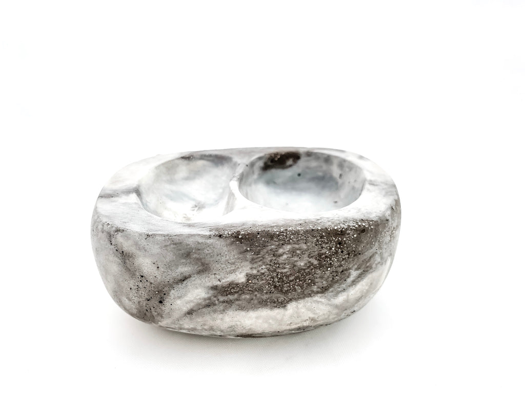 The Stephanie bowl, small marbled concrete, two nestled indentations