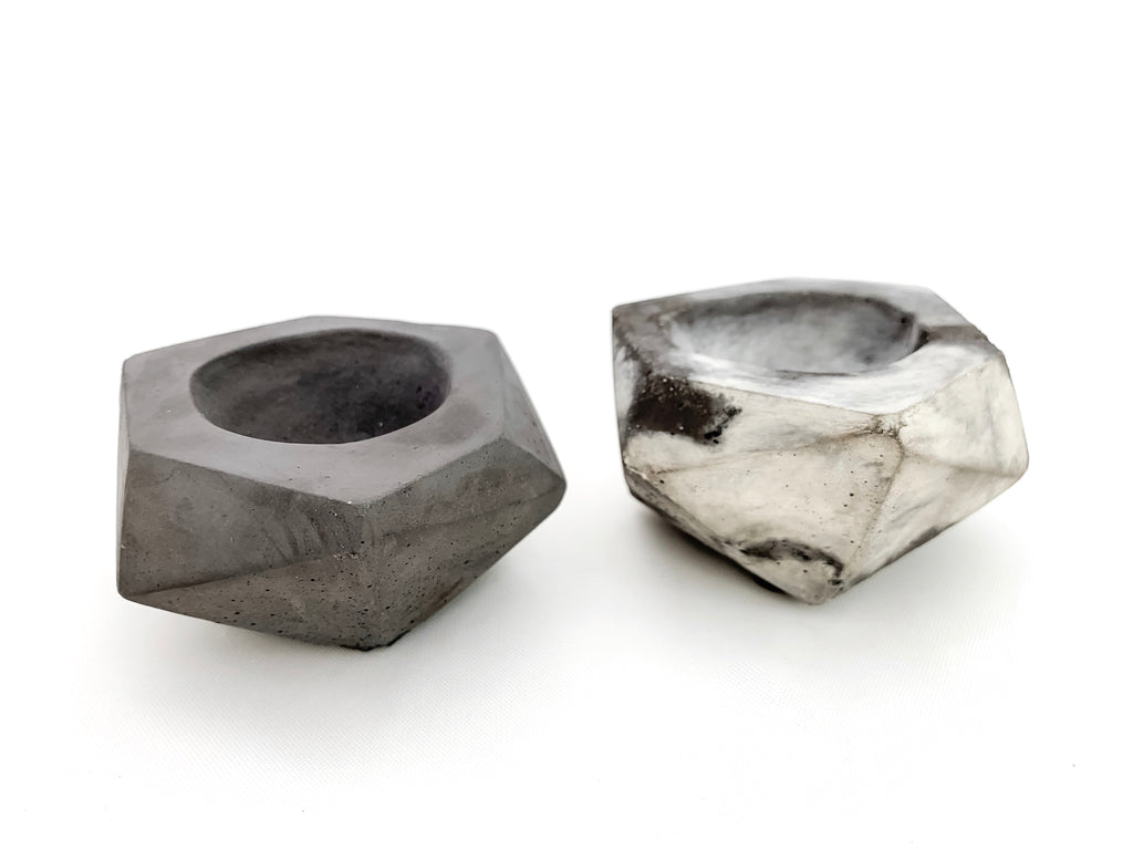 Geometric salt & pepper cellar, marbled & charcoal concrete, modern home decor