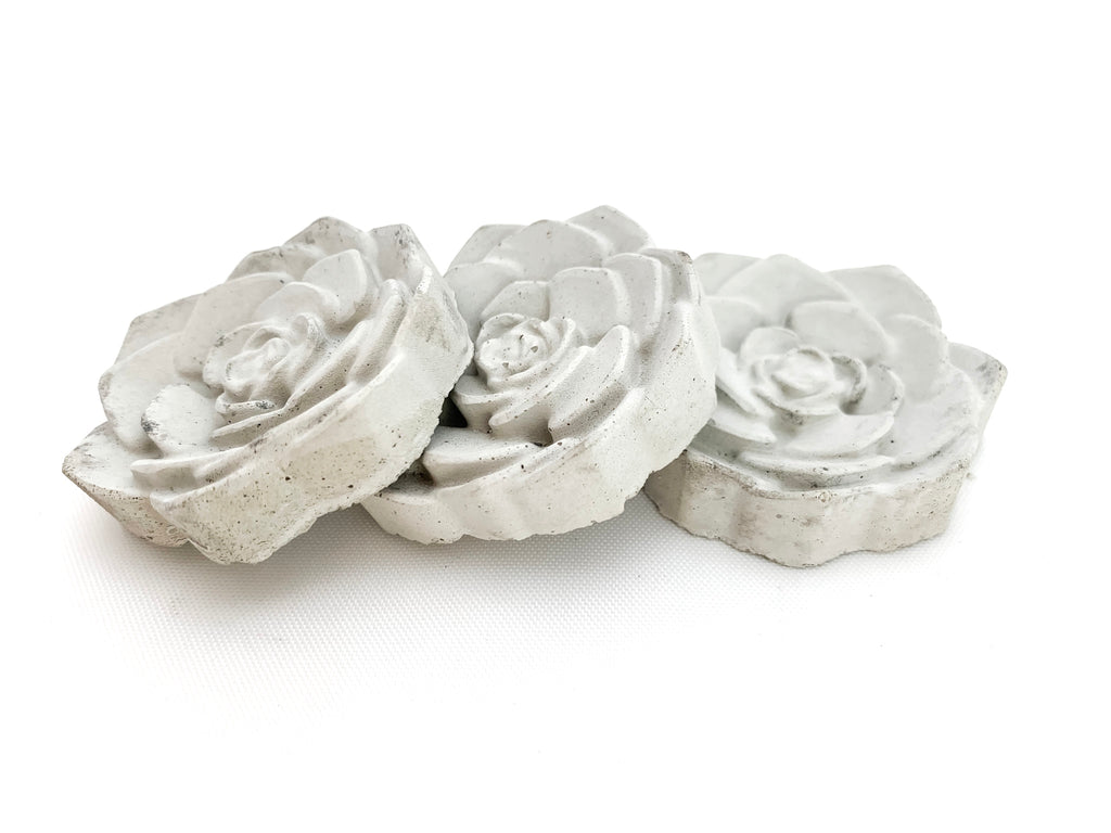 Concrete Rose magnets, 3 side by side grey, modern home decor