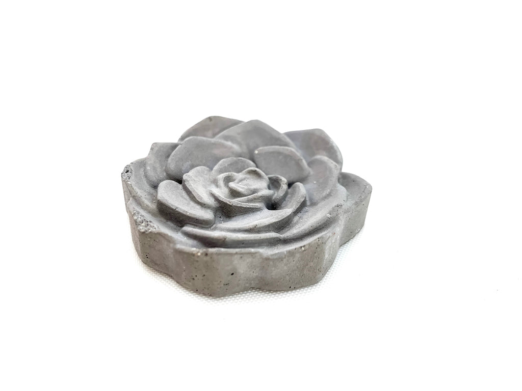 Concrete Rose magnet, dark grey side view, modern home decor