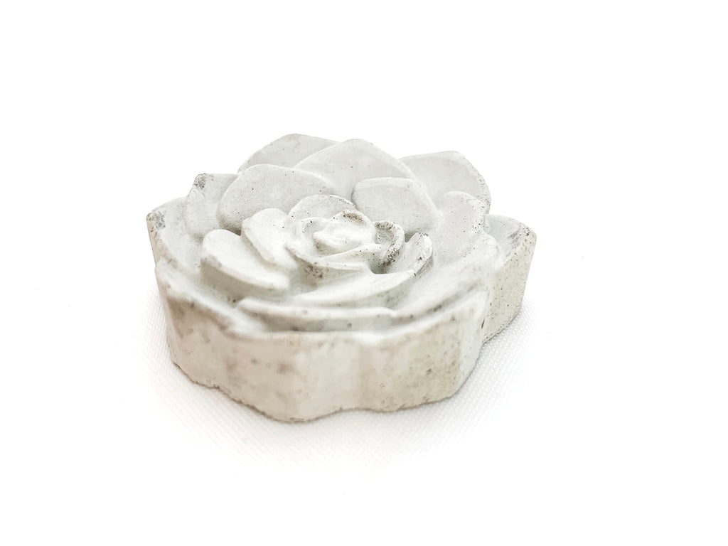 Concrete Rose magnet, grey, side view, modern home decor