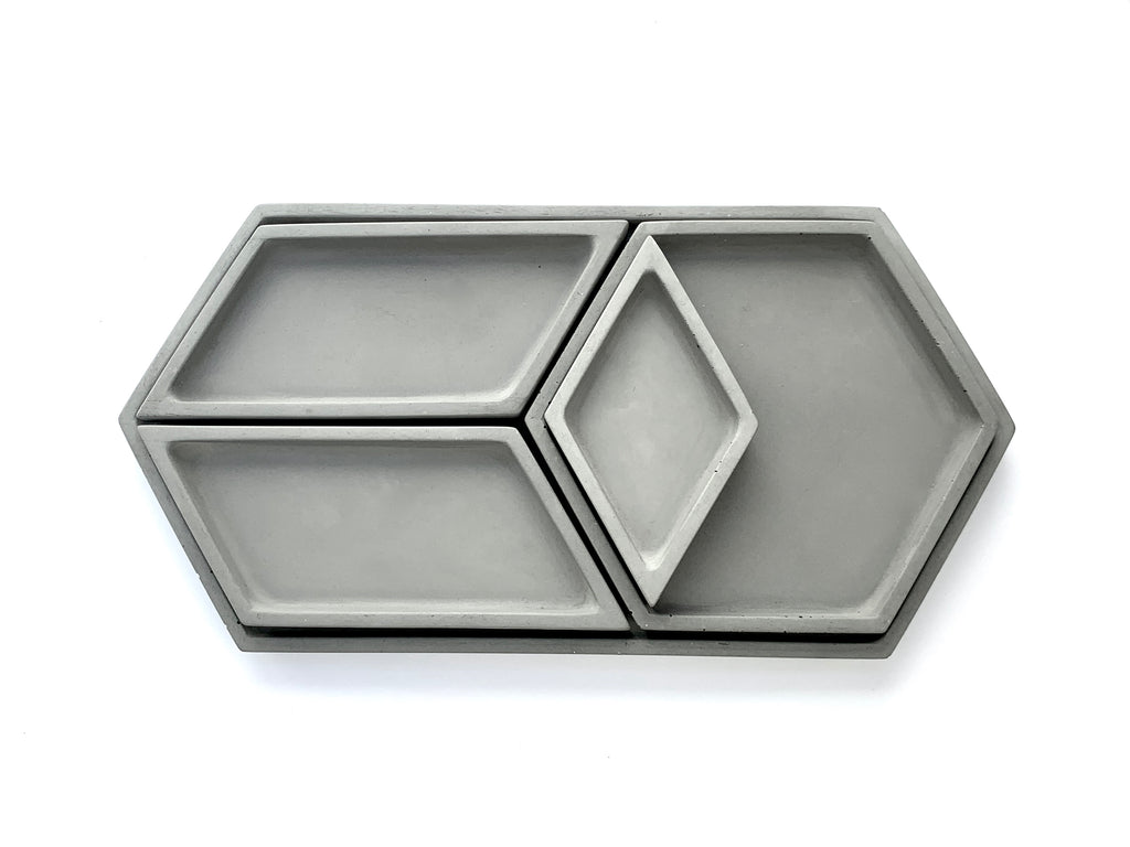Hex Tray concrete collection stacked view from above, dark grey, modern home decor