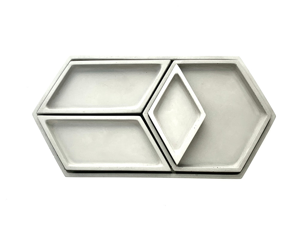 Hex Tray concrete collection stacked view from above, grey, modern home decor