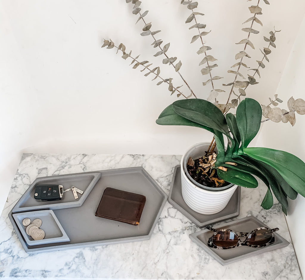 Hex Tray concrete collection, valet tray with orchid, keys, modern home decor