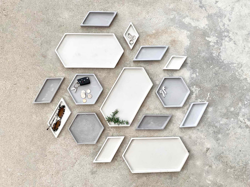 Hex Tray concrete collection flat lay collage of combinations, modern home decor