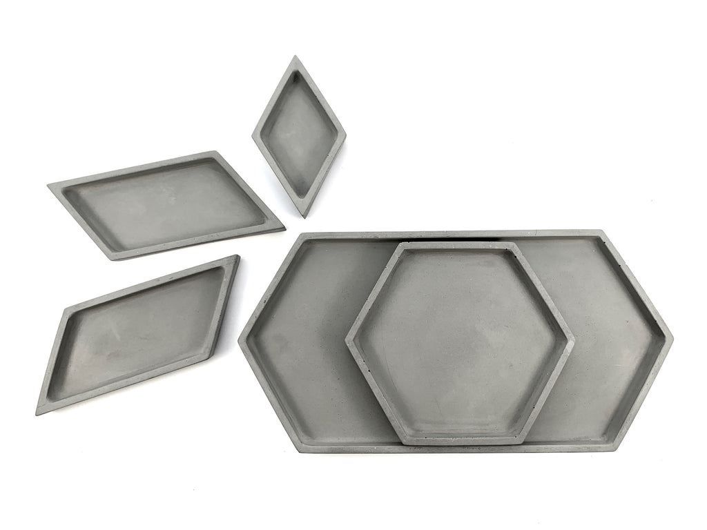 Hex Tray concrete collection arranged view from above, modern home decor