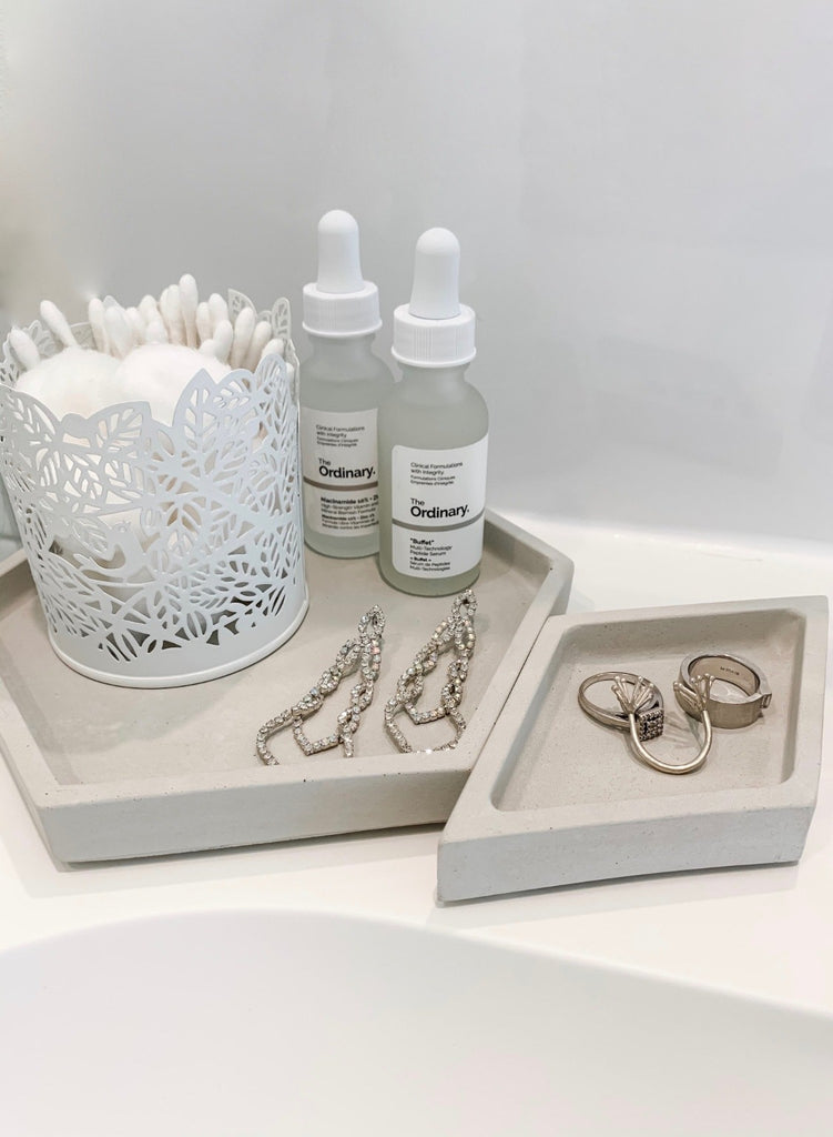 Hex Tray concrete collection on bathroom sink holding qtips/jewelry/facial creams, modern home decor