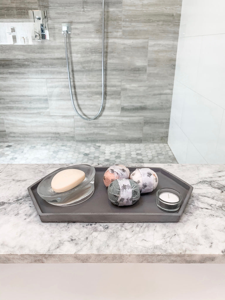 Hex Tray concrete collection, in bathroom holding salt bombs/soap/candle over tub, modern home decor