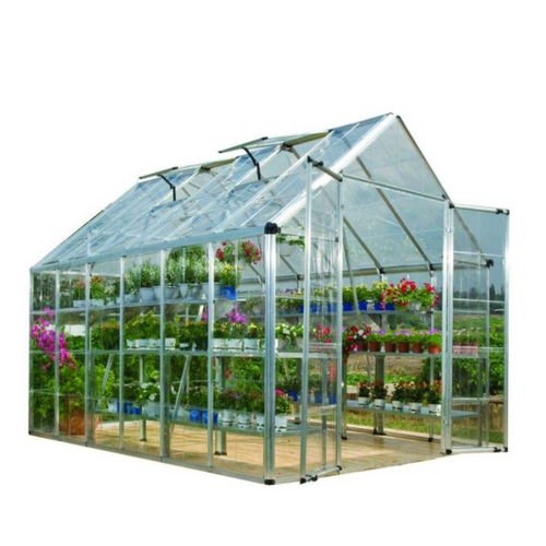 Palram Snap and Grow 8 ft. x 12 ft. Silver Polycarbonate Greenhouse