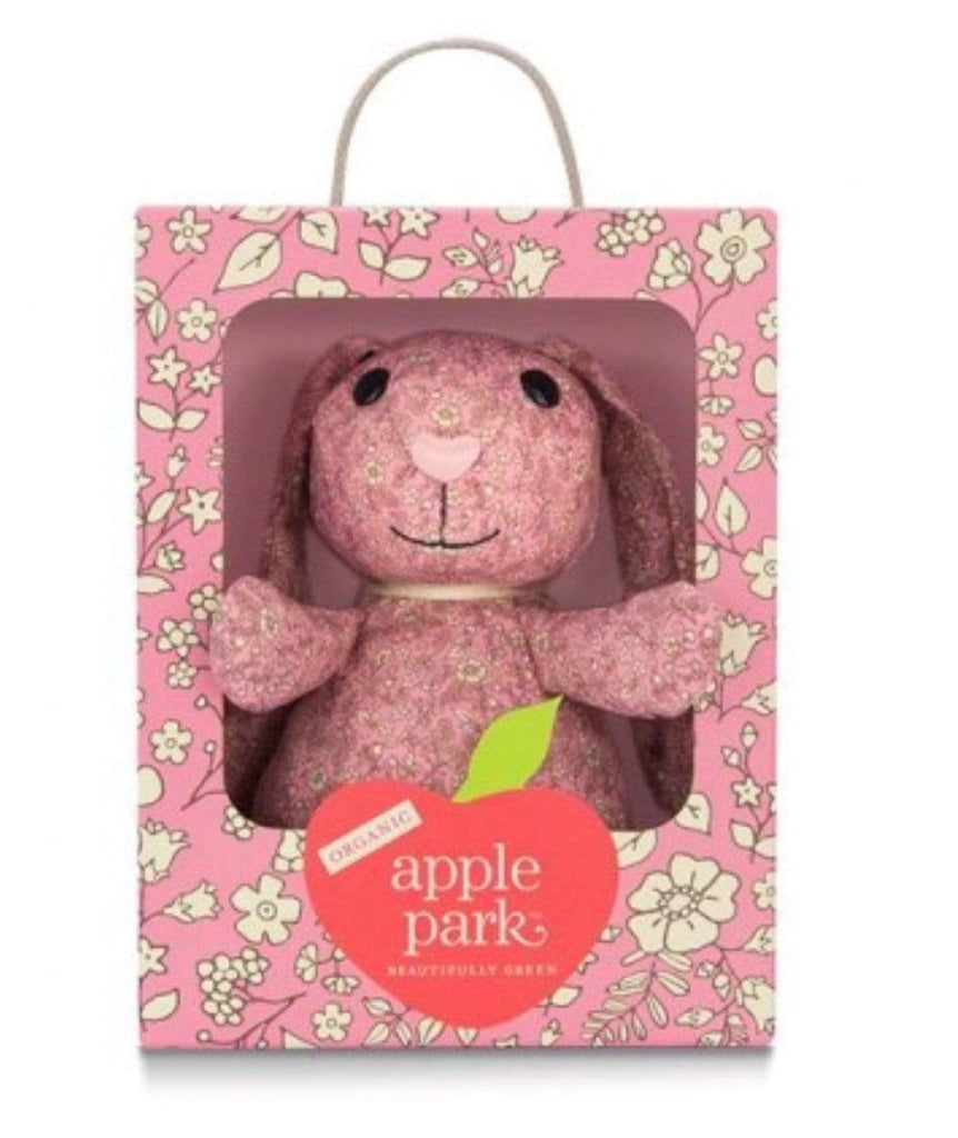 Apple Park Birth Plus Organic Luxury - Pink Floral Patterned Bunny