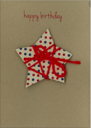 Candlebark Greeting Cards Birthday Star String