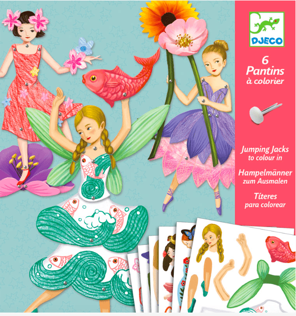 Djeco 6 Plus 6 Paper Puppets - Fairies