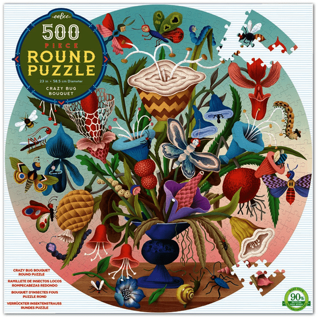 eeBoo 10 Plus 500 Pc Round Puzzle - Crazy Bug Bouquet