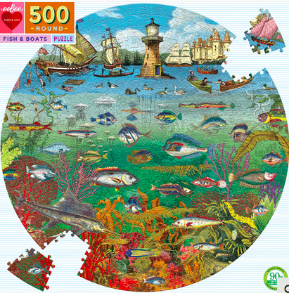 eeBoo 10 Plus 500 Pc Round Puzzle - Fish & Boats