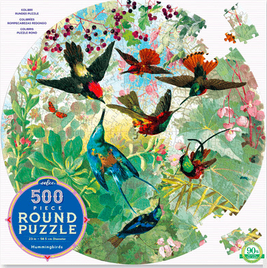eeBoo 10 Plus 500 Pc Round Puzzle - Hummingbirds