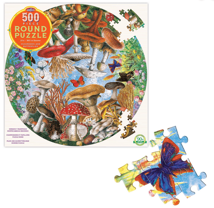 eeBoo 10 Plus 500 Pc Round Puzzle - Mushrooms & Butterflies