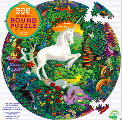 eeBoo 10 Plus 500 Pc Round Puzzle - Unicorn Garden