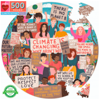 eeBoo 12 Plus 500 Pc Round Puzzle - Climate Action