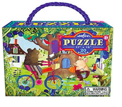 eeBoo 3 Plus 20 Pc Puzzle - Bear on Bicycle