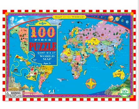 eeBoo 5 Plus 100pc Puzzle - Map of the World
