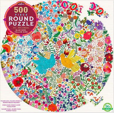 eeBoo 8 Plus 500pc Round Puzzle - Blue Bird, Yellow Bird