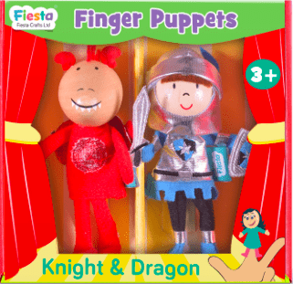 Fiesta Crafts 3 Plus Finger Puppet - Set - Knight & Dragon