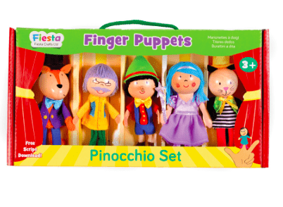 Fiesta Crafts 3 Plus Finger Puppet - Set - Pinocchio