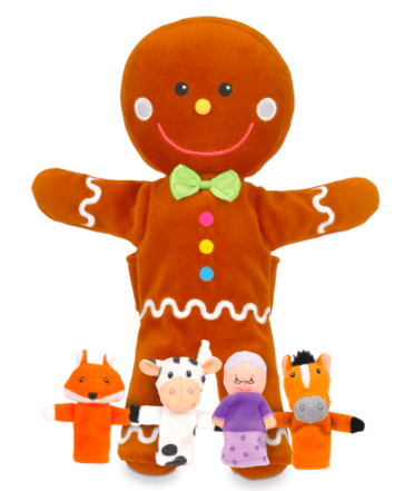 Fiesta Crafts 3 Plus Hand Puppet - Gingerbread Man & Fingerpuppet Set