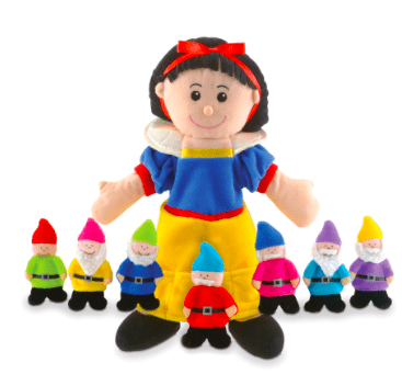Fiesta Crafts 3 Plus Hand Puppet - Snow White & 7 Dwarfs Hand & Finger Puppet