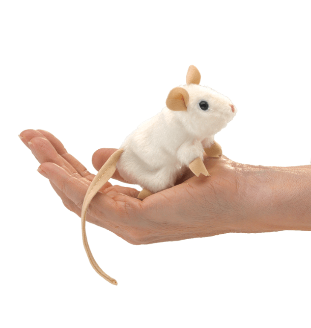Folkmanis 3 Plus Finger Puppet - Animal - White Mouse