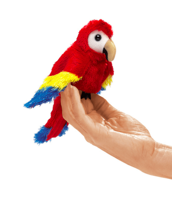 Folkmanis 3 Plus Finger Puppet - Bird - Scarlet Macaw
