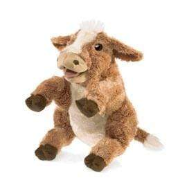 Folkmanis 3 Plus Hand Puppet - Farm Animal - Brown Cow