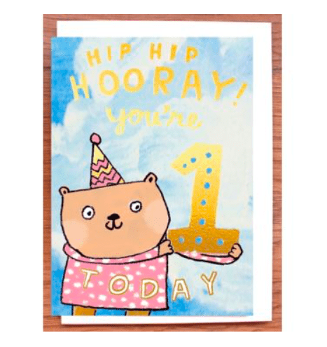 Laura Skilbeck Greeting Cards One Today Gold Bear