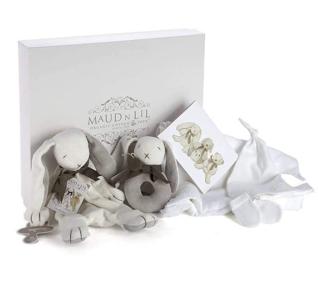 Maud n Lil Birth Plus Baby Gift Box - Ears the Bunny - Grey